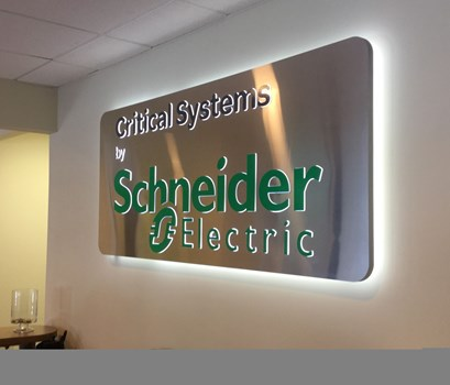 Edgelit Lobby Sign for Schneider Electrical in Columbia,MD